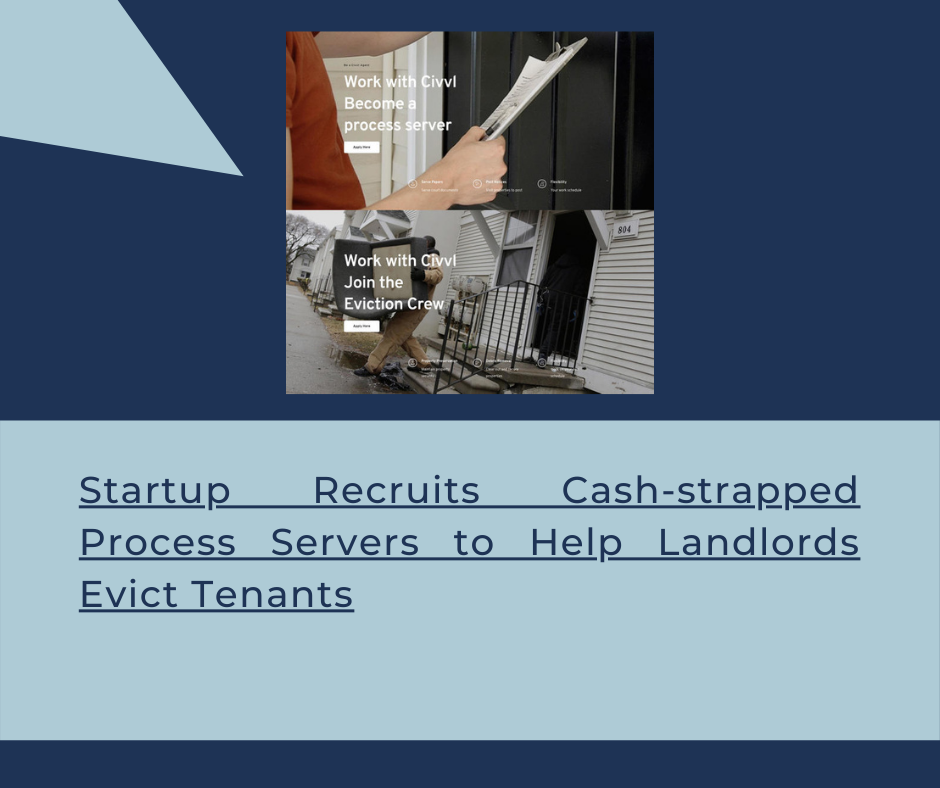 Startup recruits cash-strapped process servers to help landlords evict tenants