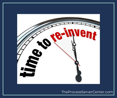 Clock displaying time to re-invent the process service industry